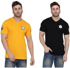 BLISSTONE Men Yellow & Black Slim fit Cotton Blend V neck T-Shirt - Pack Of 2