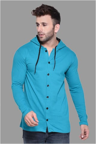 BLISSTONE Men Cotton Blend Solid Casual Shirt Turquoise