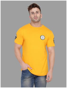 BLISSTONE Men Yellow Slim fit Cotton Blend Round neck T-Shirt - Pack Of 1