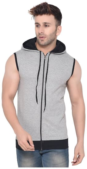 BLISSTONE Men Grey Hooded Hoodie