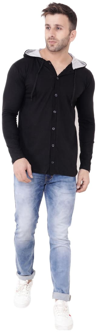 Blisstone Men's Cotton Hooded T-shirt(HF_744_S_Black_Small)