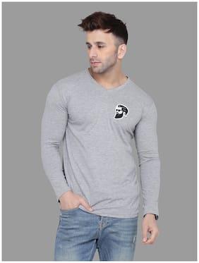 BLISSTONE Men Grey Slim fit Cotton Blend V neck T-Shirt - Pack Of 1