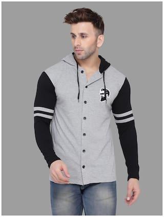 BLISSTONE Men Grey & Black Colorblocked Slim Fit Casual Shirt