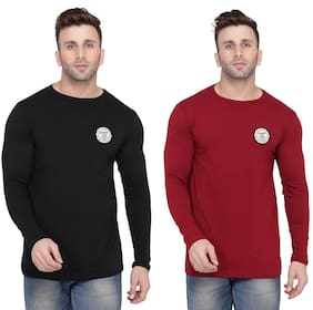 BLISSTONE Men Black & Maroon Slim fit Cotton Blend Round neck T-Shirt - Pack Of 2