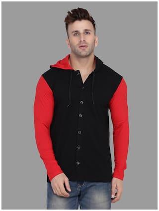 BLISSTONE Men Black & Red Colorblocked Slim Fit Casual Shirt