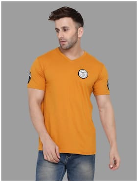 BLISSTONE Men Mustard Slim fit Cotton Blend V neck T-Shirt - Pack Of 1