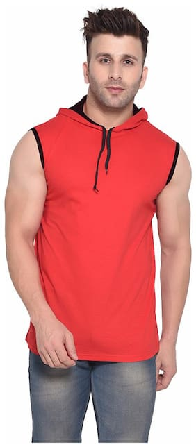 BLISSTONE Men Red Slim fit Cotton Blend Hood T-Shirt - Pack Of 1