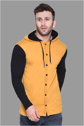 BLISSTONE Men Yellow & Black Colorblocked Slim Fit Casual Shirt