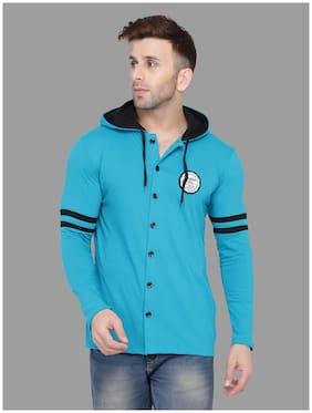BLISSTONE Men Cotton Blend Solid Turquoise  Casual Shirt