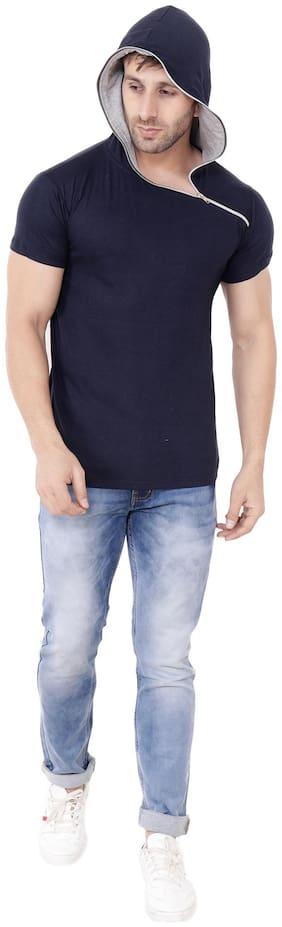 BLISSTONE Men Blue Regular fit Cotton Hood T-Shirt - Pack Of 1