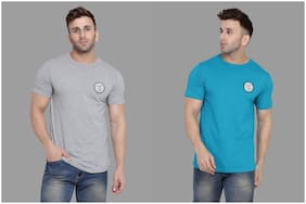 BLISSTONE Men Grey & Turquoise Slim fit Cotton Blend Round neck T-Shirt - Pack Of 2