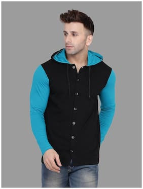 BLISSTONE Men Black & Blue Colorblocked Slim Fit Casual Shirt