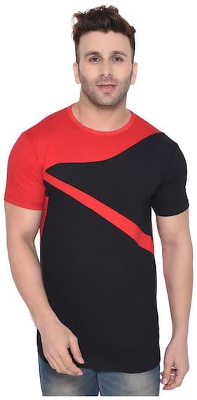 BLISSTONE Men Red & Black Slim fit Cotton Blend Round neck T-Shirt - Pack Of 1