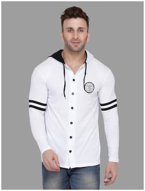 BLISSTONE Men White Solid Slim Fit Casual Shirt