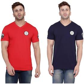 BLISSTONE Men Red & Navy blue Slim fit Cotton Blend V neck T-Shirt - Pack Of 2