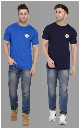 BLISSTONE Men Blue & Navy blue Slim fit Cotton Blend Round neck T-Shirt - Pack Of 2
