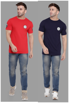 BLISSTONE Men Red & Navy blue Slim fit Cotton Blend Round neck T-Shirt - Pack Of 2