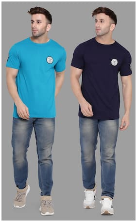 BLISSTONE Men Navy blue & Turquoise Slim fit Cotton Blend Round neck T-Shirt - Pack Of 2