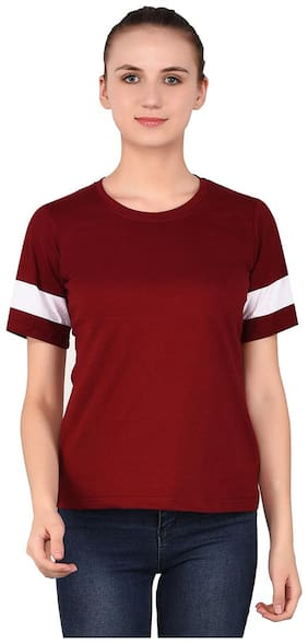 BLISSTONE Women Maroon Regular fit Round neck Cotton T shirt