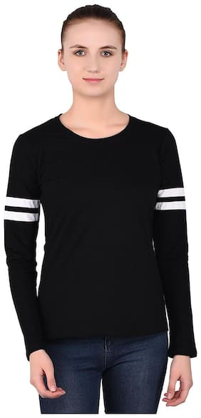 BLISSTONE Women Solid Round neck T shirt - Black