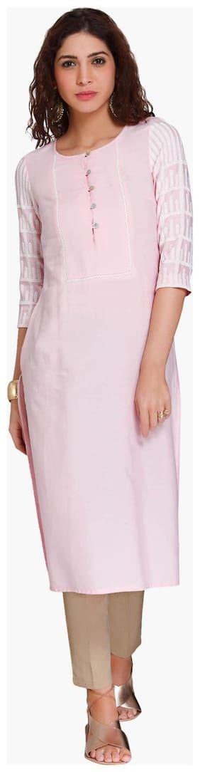 NAARI Women Viscose Embroidered Straight Kurti - Pink