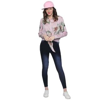 Blu Finch Womens Pink Cotton Knotted Shirt