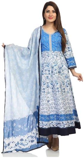 Blue Anarkali Cotton Suit Set