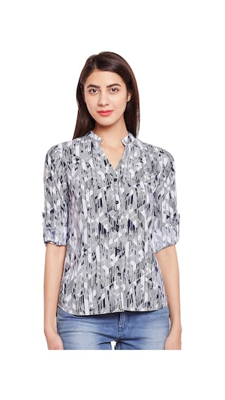 Blue And White Poly Crepe Printed Shirt