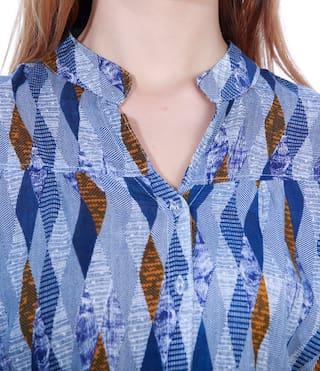 print print tunic Blue Aztec shirt Aztec Blue w4nIqSqx8
