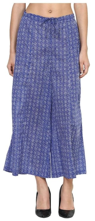 Blue cotton ankle length flare palazzo