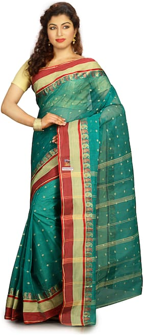 Blue Cotton tant Saree without Blouse