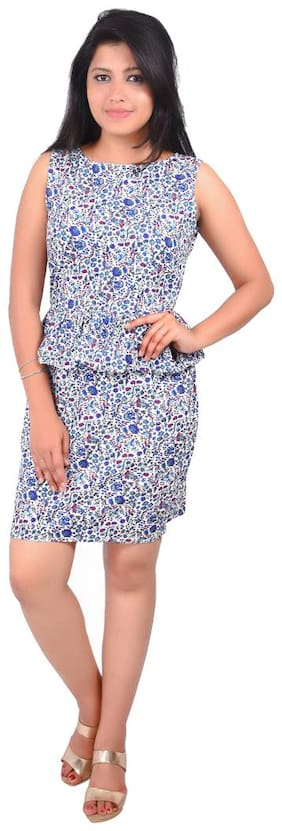 RIVI Blue Printed A-line dress