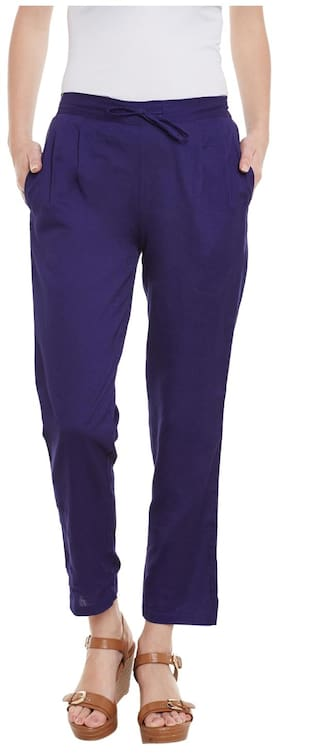 Blue Cotton Solid Trousers