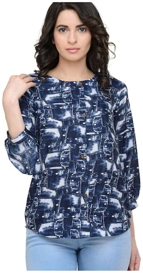 Sayesha Women Crepe Printed - Regular top Blue