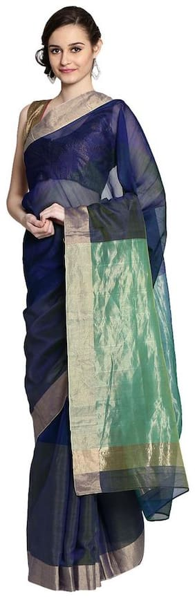 Blue Green shaded hand woven pure chanderi saree