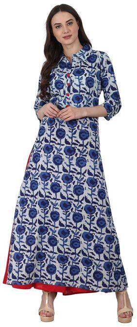 Nayo Blue Printed 3/4 Sleeve Long Cotton Kurta