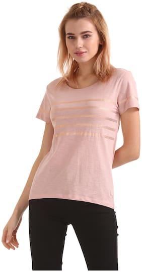 Flying Machine Women Printed Round neck T shirt - Pink