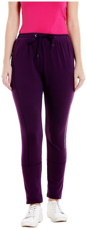 Bodyactive Women Regular fit Cotton Solid Track pants - Purple
