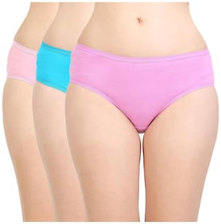 Bodycare Pack Of 3 Solid Mid Waist Hipster Panty - Multi