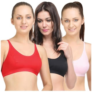 3fbbf063f1544 Buy BODYCARE Pack of 3 Sports Bra in Pink-Red-Black Color Online at ...