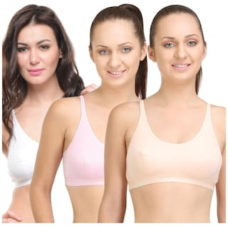 c09051e50fe37 Buy BODYCARE Pack of 3 Sports Bra in Peach-Pink-White Color Online ...