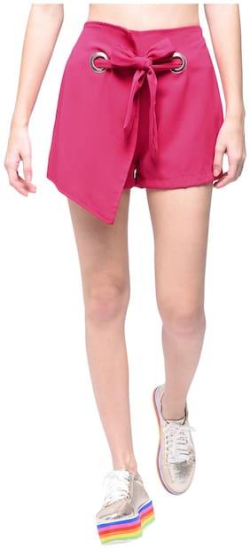 BOHOBI Women Solid Hot pants - Pink