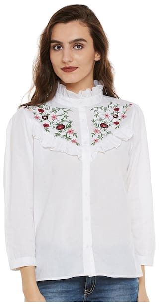 Bohobi Women's White Embroidered Princess Neck Collar Shirt