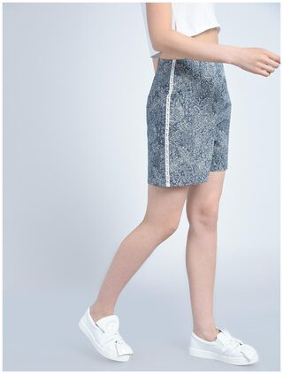 Bohobi Women Blue Denim Lace and Pearl Detail Solid Shorts