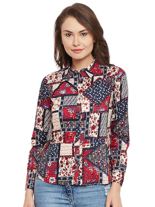 Bohobi Women's Printed Casual Maroon Shirt