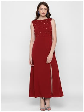 BOHOBI Red Solid A-line dress