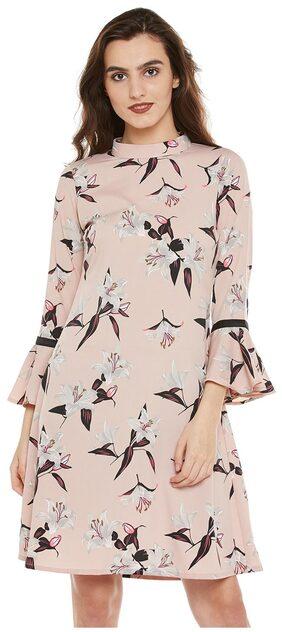 Bohobi Women's A-line Pink Knee-Length Dress