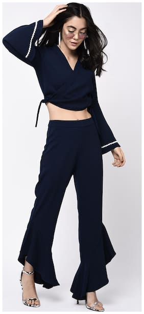 BOHOBI Women Slim fit Mid rise Solid Cropped trousers - Blue