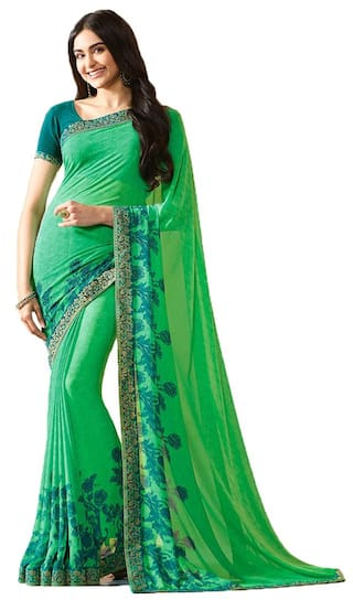 9222a25f8e Buy Bollywood Design Green Color Georgette Printed Saree Online at ...