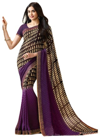 a7b9e15b48 Buy Bollywood Design Purple Color Georgette Printed Saree Online at ...